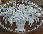 REVERSE CARVED LUCITE flower basket rock crystal antique vintage assemblage necklace