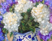 Original oil painting:  Brilliant White Hydrangeas and delphiniums in blue and white pitcher