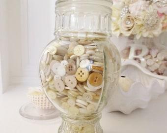 Vintage Antique Button Lot Cream Ivory Off White Bulk Mix