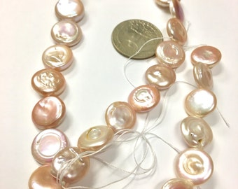 Peach-Golden Freshwater Coin Pearls    MOI-B9