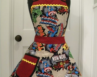 Womens Apron-Captain America Marvel Heroes Full Apron