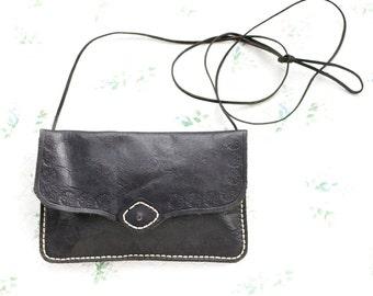 Black Leather Handbag - Small Cross Body Boho Bag
