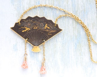 Damascene Fan Necklace - Miniature Art Deco pendant on Chain