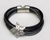 Black and Silver Leather, Skinny Leather, Wrap Bracelet, 6 strands, antique silver flower, secure magnet, skinny leather cord, wrap n click