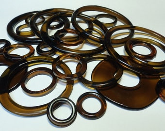 Recycled Brown Recycled Kiln Polished Bottle Rings 25 Rings (R975)