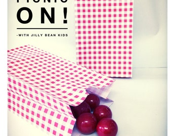 Red Gingham SOS Lunch Bags 2 dozen