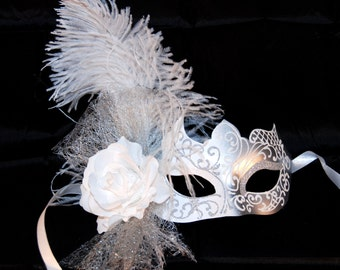 Silver Masquerade Mask - White Wedding Masquerade Mask - Costume Ball Mask - Venetian Mask - Party Mask - Feather Mask