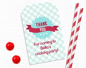 Personalized Printable Baking Party Favor Tag - Printable Tags for Baking Birthdays, Baking party printable, Baking Party .. bp04