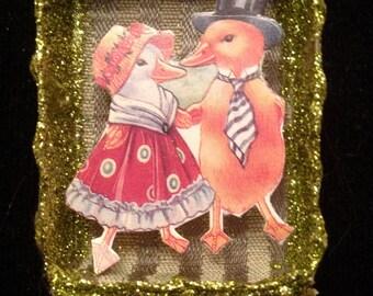 Mr. and Mrs. Duck Matchbox Ornament