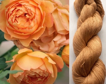 Mulberry silk 100% (2ply ,) handdyed yarn, hand painted yarn, Apricot rose