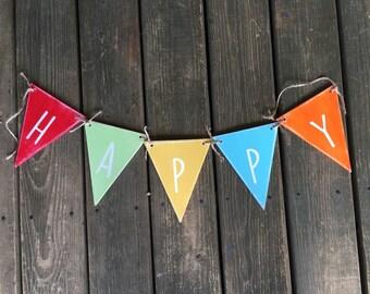 Happy banner in rainbow colors
