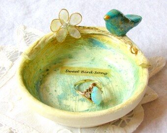 Trinket Dish, Wedding Ring Bowl, Jewelry Holder, Clay Bird, Organizer