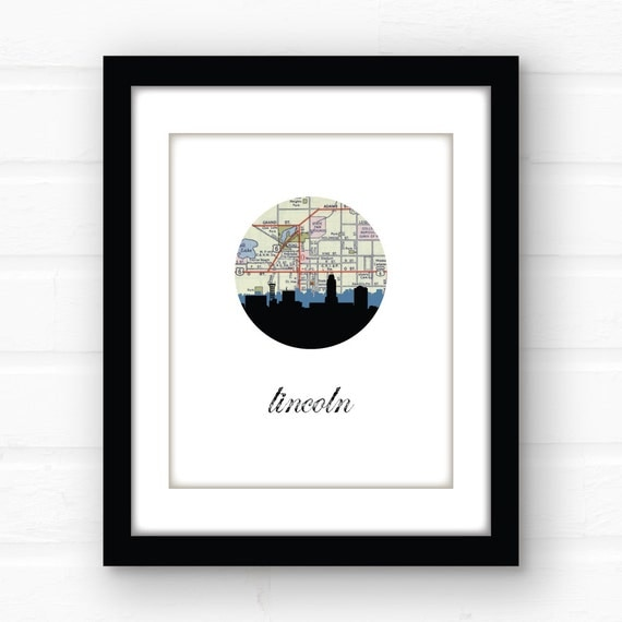 Lincoln nebraska map art nebraska art print nebraska city Home decor lincoln ne