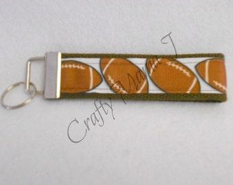 Football Image Print Ribbon on Brown Webbing Key Fob Keychain Wristlet
