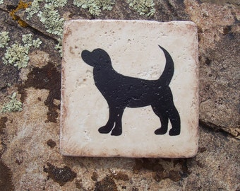 Dog Coasters ~ Stone Tile Coasters - Hand painted - Dog -  Rescue - Mans Best Friend - Veterinarian - Groomer