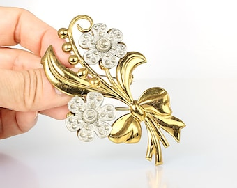 Marcasite Flower Art Deco Brooch.  Brass Leaf Mixed metals. Silver Gold 1930s antique jewelry