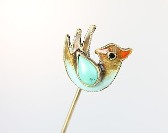 Bird Stick Pin, Hat Pin, Chinese Export Enamel sterling silver Bird Brooch, Turquoise Blue vintage jewelry