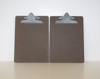 Vintage Brown Letter Clipboard Set of Two - repurposed display, photo display