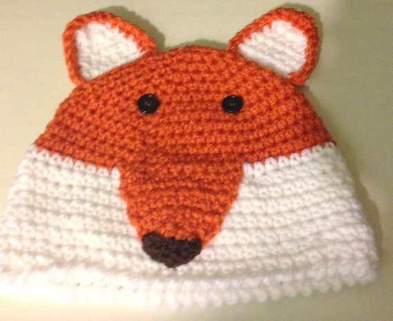 CROCHET FOX HAT 1 year to 3-4 years by hookedandstitched on Etsy