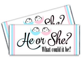 He or She Gender Reveal Baby Shower Candy Bar Wrappers - Gender Reveal Favors - Set of 12