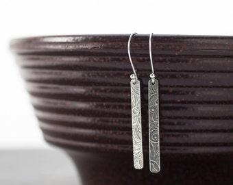 Sterling Silver Patterned Bar Earrings, Silver Dangle Earring, Embossed Earring, Modern Minimal Jewelry, Earrings Sterling Artisan
