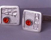 One-Of-A-Kind 'desert sun', hand made cuff links in sterlium, sterling silver and mexican fire opals by Rubyblue Jewelry
