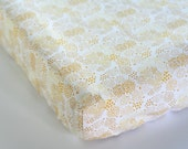 Gold Fitted Crib Sheet, Changing Pad Cover, Neutral Nursery Bedding, Boy or Girl Crib Bedding, Anna Elise Geo Mist Gold Triangles Stars Dots