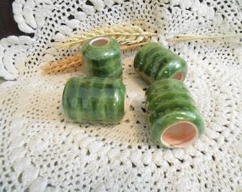 4 Lg Glazed Ceramic Macrame Beads-Tube Shaped-Handcrafted-Dk Green-Evergreen-LAN1