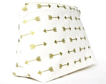 Cosmetic Bag in Metallic Gold Arrow Print: Gold Wedding Bridesmaid Gift, Arrow Baby Shower Favor