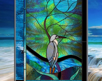 Blue Heron with Moonlit Tree Leaded Stained Glass Window