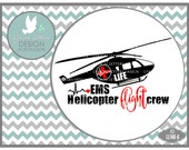 EMS Helicopter Flight Crew Flight Nurse Occupation LL148 A - Svg - Cut File - With Ai, eps, svg, dxf (for Silhouette users), jpg, png files
