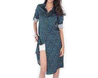 Shirt Dress / Long Shirt  / Women's shirt / Long Boho Shirt - Floral Shirt : Simply Touch Collection No.4