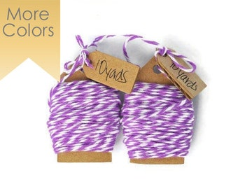 Purple Bakers Twine wrapping cord. Cotton floss string Lilac color. Gift wrap embellishments, Packaging touches. Ribbon Craft Supplies twine