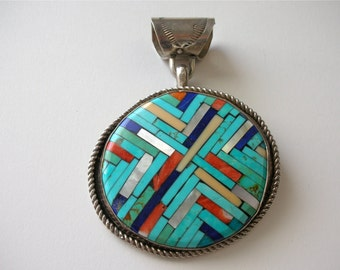 Vintage SiGNED Native American Turquoise Mosaic Inlay Pendant by Artist Joe Reano Sterling Silver Turquoise Pendant with Bale FREE US ShiP