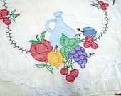 Vintage Embroidered Fruits Runner / Table Runner / Wine Runner /Vino / Hand Embroidered / White Cotton / Cotton Lace Edge / Wine Making