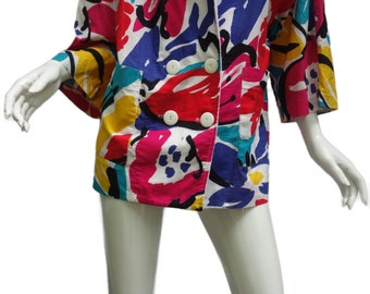 Vintage YSL Yves Saint Laurent Made in France Tropical Beach Coverup Sz.Med