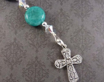 Beaded Bookmark with Swarovski Crystal, Green Jasper, and Cross Charm, Christian Bookmarker