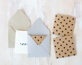 Kraft Black Polka Dot Embossed Mini Square Cards - 10 pc