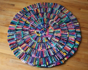 T Shirt Rag Rug Rainbow Circular Round Shabby Cottage Chic Log Cabin Rustic Navy Blue Red Pink Green Purple Gold 49 in-US Shipping Included