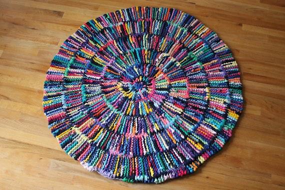 T Shirt Rag Rug Rainbow Circular Round Shabby Cottage Chic Log