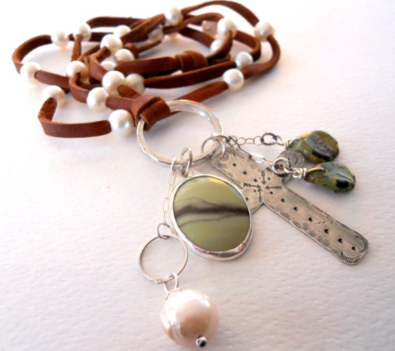 Handmade Jewelry, OOAK, Southwestern, Boho, Pearl, Sterling Silver Cross, Green Turquoise, Green Archean Butterstone, Leather Charm Necklace