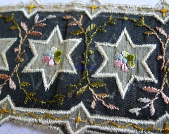 66cm band of silk embroiderie