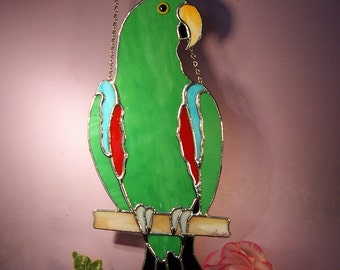 Stained Glass Suncatcher Eclectus Parrot Male  (698)