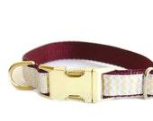 Chevron Dog Collar, Metal Buckle Collar