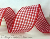 "Wired Ribbon 2 1/2"" Red White Check Gingham,  THREE YARDS, Offray Christmas, Valentine, Summer, Picnic Check, Craft Decor Wire Edge Ribbon"