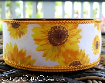 """Wired Ribbon, 1 1/2"""",  Yellow, Gold and Brown Sunflower Print  - TEN YARD ROLL - """"Sunflower""""  Spring, Flower Wire Edged Ribbon"""
