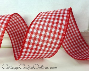 """Wired Ribbon 2 1/2"""" Red White Check Gingham,  THREE YARDS, Offray Christmas, Valentine, Summer, Picnic Check, Craft Decor Wire Edge Ribbon"""