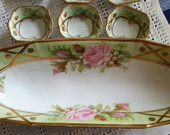 German Porcelain Celery Dish with 6 Dippers