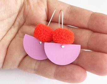 Pom Scallop Drop - Orange Neon Pom Pom & Grape Sherbet Acrylic - Laser Cut Acrylic Drop Earring - Each To Own