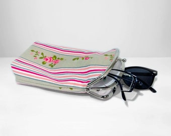 Glasses case Double pockets - Sunglasses / Reading case - Pink and Natural Cotton Canvas fabric - Silver Frame
